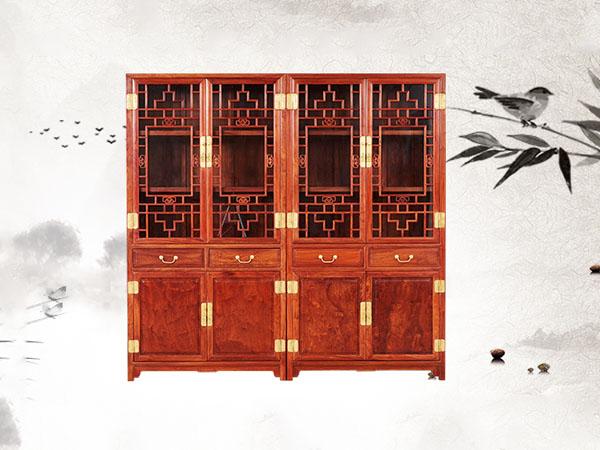 缅甸花梨【大果紫檀】明式素面书柜