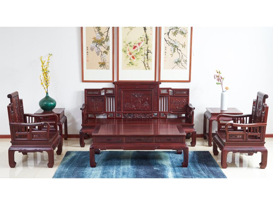 老挝花枝【红酸枝】广式卷书沙发