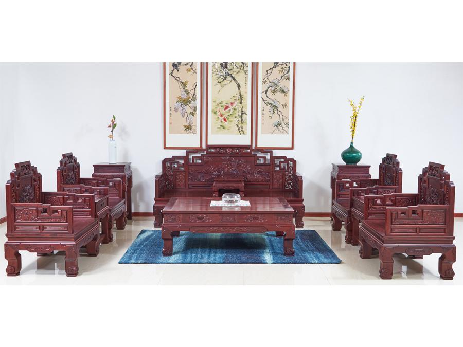 老挝花枝【红酸枝】鸿福富贵沙发
