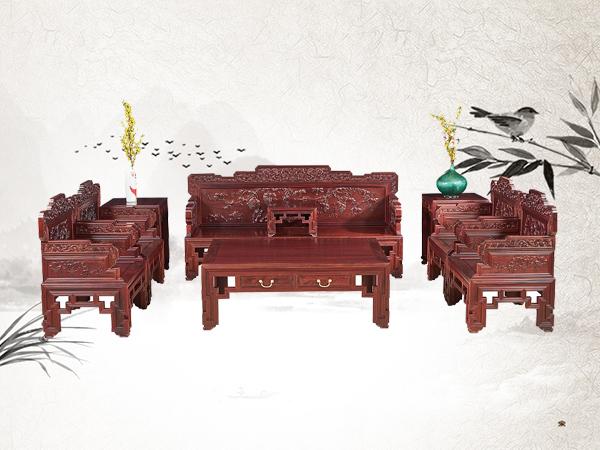 老挝花枝【红酸枝】葡萄宝座沙发