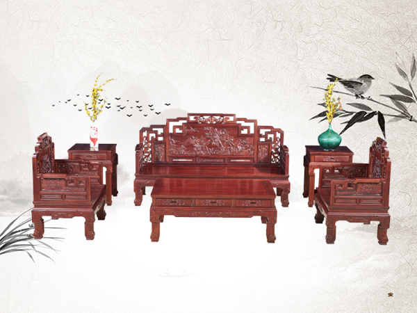 老挝花枝【红酸枝】鸿福沙发六件套【适合小户型客厅】