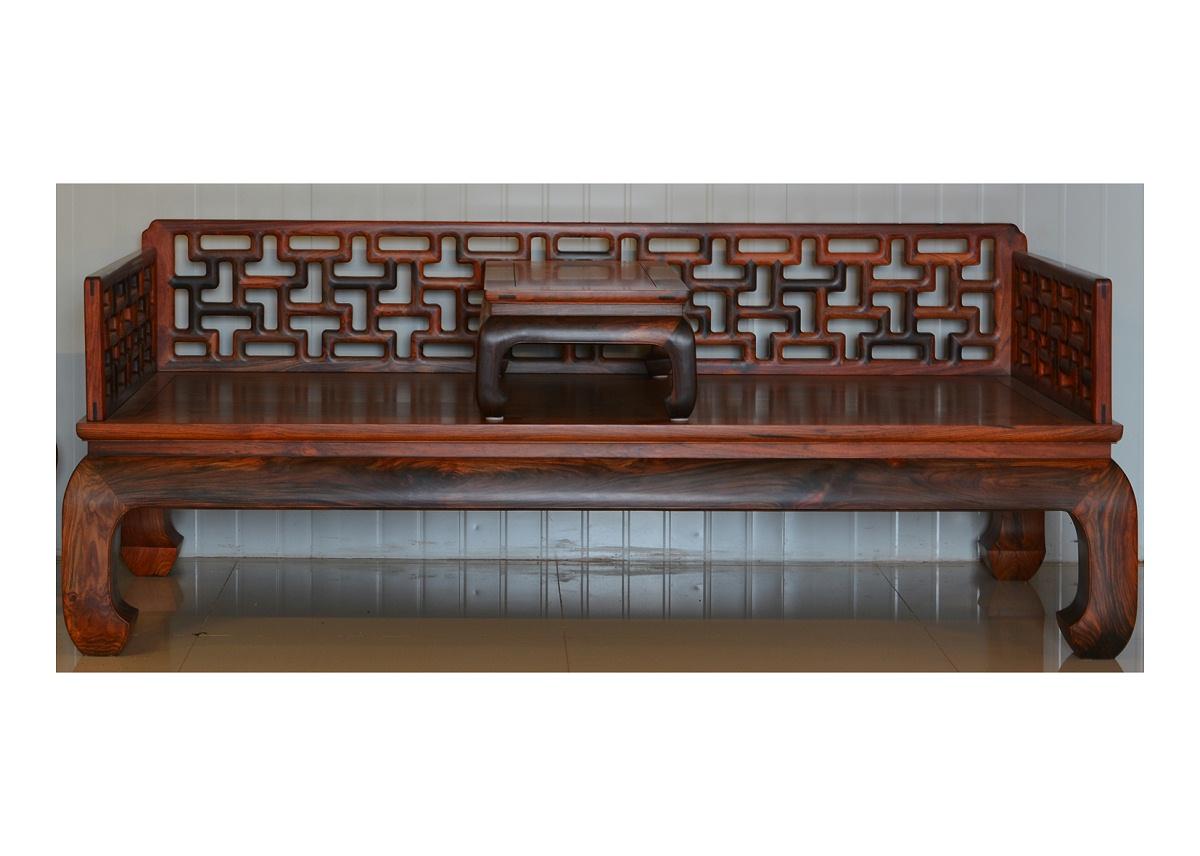 老挝红酸枝典尺罗汉床
