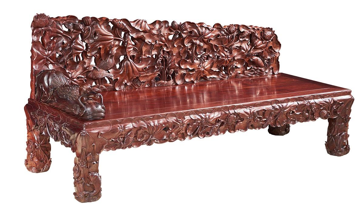 老挝红酸枝贵妃床