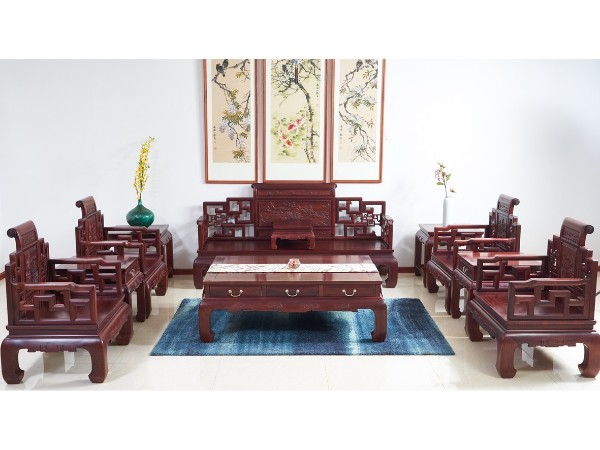 老挝花枝【红酸枝】山水卷书沙发