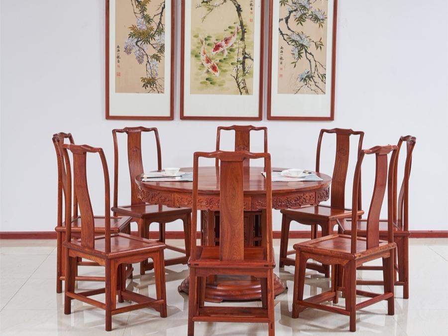 缅甸花梨木【大果紫檀】133洋花餐桌