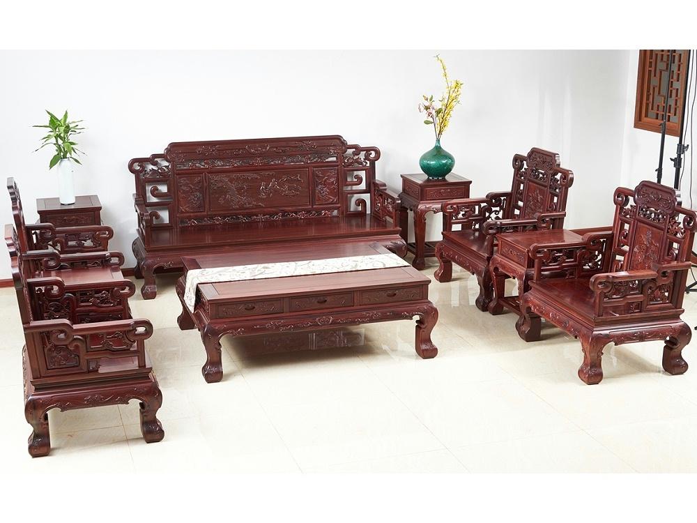 老挝花枝【红酸枝】山水雅凤沙发