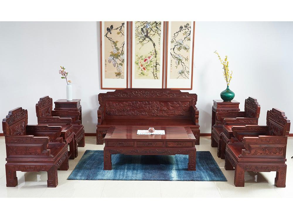 老挝花枝【红酸枝】山水八宝沙发